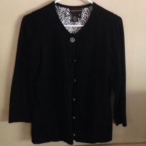 Dana Buchman Black Cardigan With Silk Lining